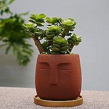 Pentola di piante ceramica della faccia umana