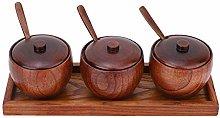 Pentola per condimenti in legno, set di 3 con