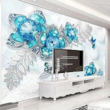 Personalizzato Murale Blu Gioielli Fiore Farfalla