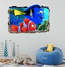 Pesce fracassato 3d adesivo murale adesivo art