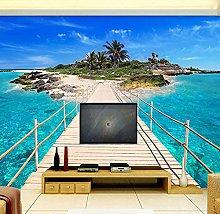 Photo Wall Paper Isola Ponte di legno 3D Paesaggio
