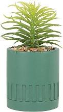 Pianta grassa artificiale con vaso in cemento verde