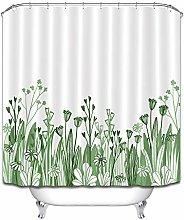 Pianta verde, fiori, bianco, semplice tenda da