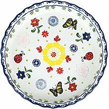 Piatto da forno rotondo in ceramica dipinta a mano
