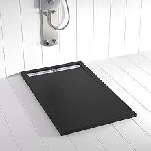 Piatto doccia ardesia pietra FLOW Nero - 80x80 cm