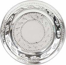 Piatto piano d'argento indiano in acciaio