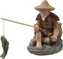 Piccolo piccolo pescatore seduto figurine da
