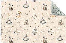Piccolo tappeto rettangolare con coniglio e orso,
