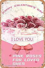 Pink Roses for Loved Ones Retro Look Metallo 20X30