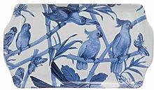 Pirottino in ceramica pappagalli bianco blu misura