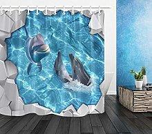 Piscina squalo delfino Stampa HD, tenda da doccia