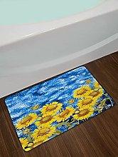Pittura a olio girasole sfondo blu Decorazione