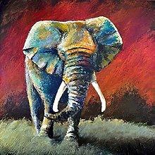 pittura con numeri Animale elefante colorato per