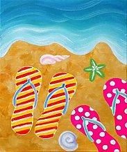 pittura con numeri Ciabatte da spiaggia astratte