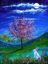pittura con numeri Coniglio notturno per adulti