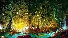 pittura con numeri Fawn nella foresta per adulti