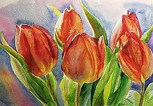 pittura con numeri Pianta tulipano per adulti