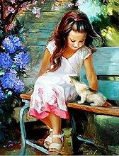 pittura con numeri Piccola ragazza carina per