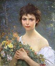 pittura con numeri Ragazza con fiori per adulti