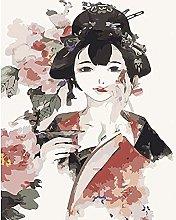 pittura con numeri Ragazza in stile cinese per