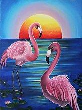 pittura con numeri uccello rosa per adulti bambini