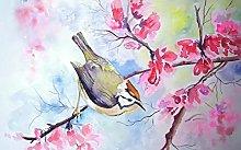 pittura con numeri Uccello sul ramo per adulti