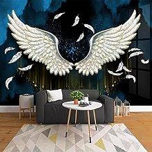 Pittura murale 3D personalizzata con ali di piume
