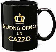 PIU FORTY Tazza Mug in Ceramica Nera BUONGIORNO Un