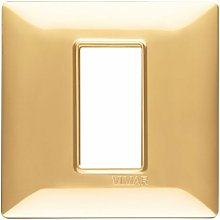 Placca 1M oro lucido scatola rotonda Vimar Plana