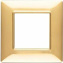 Placca 2M oro lucido scatola rotonda Vimar Plana