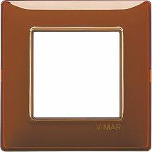 Placca 2M Reflex tabacco scatola rotonda Vimar