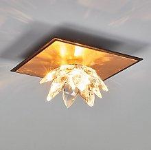 Plafoniera Fiore 1 luce, oro in foglia e cristallo