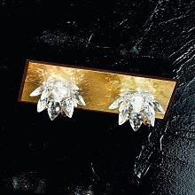 Plafoniera Fiore 2 luci, oro in foglia e cristallo