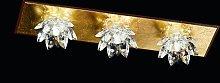 Plafoniera Fiore 3 luci, oro in foglia e cristallo