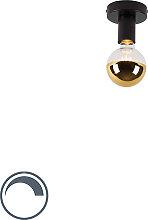 Plafoniera nera 1 lampadina-cupola-dorata-G95 -