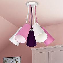 Plafoniera Wire Kids 5 luci, bianco/rosa/viola