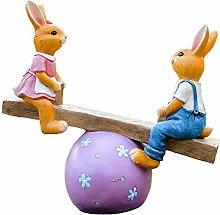 PLIENG Statue da Giardino Coniglio Figurine da