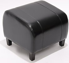 Poggiapiedi pouf Emmen pelle 47x45x37cm nero