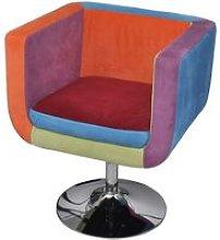 Poltrona a Cubo con Design Patchwork in Tessuto -