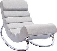 Poltrona a dondolo design in tessuto grigio chiaro