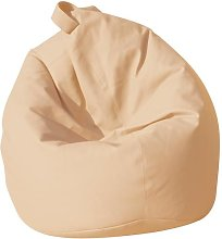 Poltrona A Sacco Pouf In Similpelle Beige Avalli