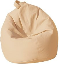 Poltrona A Sacco Pouf In Similpelle Beige - Avalli