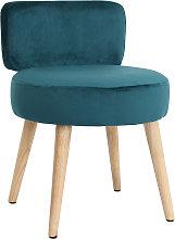 Poltrona design in velluto blu anatra e piedi