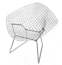 Poltrona diamond di harry bertoia con cuscino in