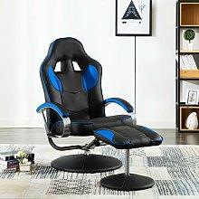 Poltrona Gaming Reclinabile con Poggiapiedi Blu in