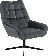 Poltrona girevole di design in velluto grigio
