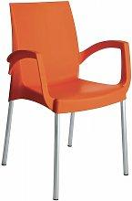Poltrona Impilabile arancio Con Gambe In Alluminio