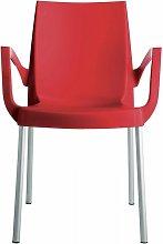 Poltrona Impilabile rossa Con Gambe In Alluminio -