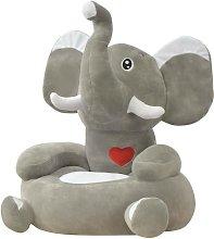 Poltrona in Peluche per Bambini Elefante Grigio