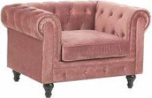 Poltrona in velluto rosa CHESTERFIELD